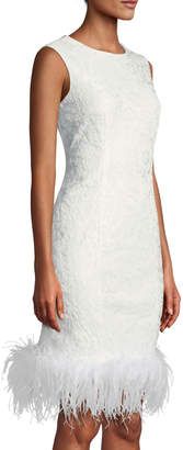 LM Collection Feather-Hem Lace Dress