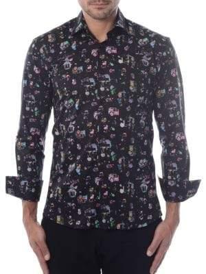 Splatter Camera Print Button-Down Shirt