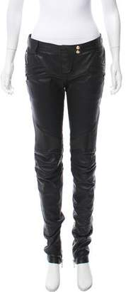 Balmain Leather Mid-Rise Pants