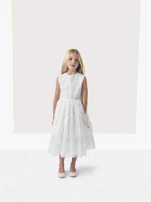 Oscar de la Renta Belle Floral Applique Organza and Tulle Dress