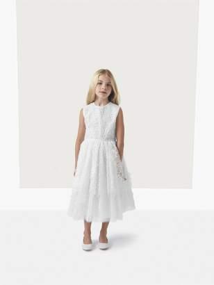Oscar de la Renta Belle Floral Applique Organza and Tulle Dress
