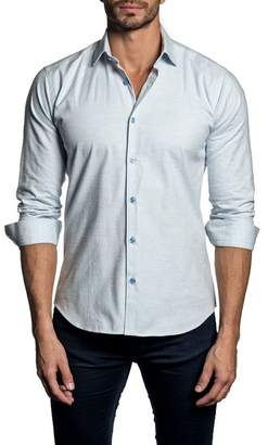 Jared Lang Long Sleeve Solid Trim Fit Woven Shirt