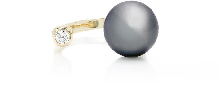 MizukiMizuki Open Ring with Tahitian Pearl and Diamond