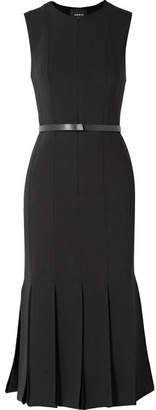 Akris Belted Fluted Wool-blend Dress - Black