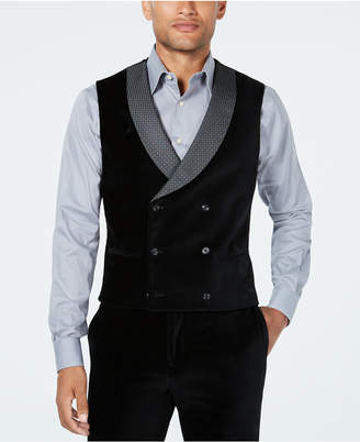 Tallia Men's Slim-Fit Black Velvet Double-Breasted Suit Vest