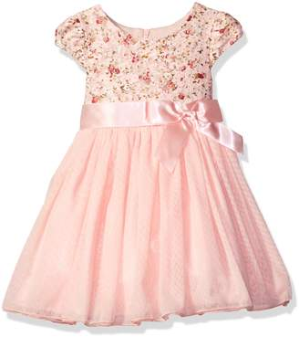 Bonnie Jean Toddler Girls' Short Sleeve Floral Lace to Mesh Ballerina Party Dress