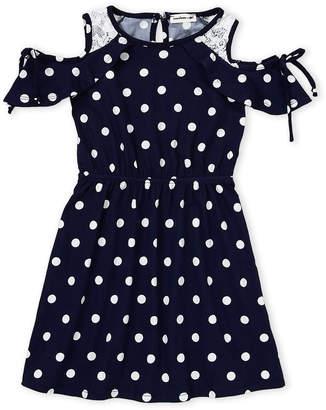 Monteau Girl (Girls 4-6x) Polka Dot Cold Shoulder Dress