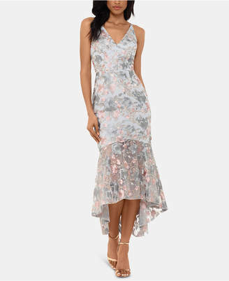 Xscape Evenings Embroidered Floral High-Low Gown