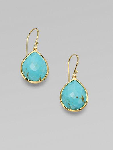 IPPOLITA Rock Candy Gelato Turquoise & 18K Yellow Gold Medium Teardrop Earrings