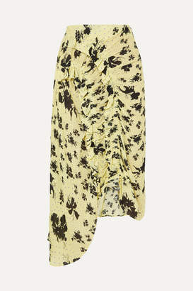 Preen Line Yuna Ruffled Shirred Floral-print Georgette Midi Skirt - Pastel yellow
