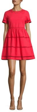 RED Valentino Lace Inset Cotton A-Line Dress $595 thestylecure.com
