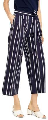 J.Crew J. CREW Wide Leg Stripe Cotton Poplin Pants