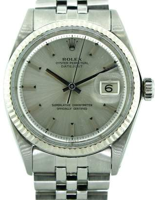 "Rolex Datejust Stainless Steel Silver "" Linen"" Stick Dial Fluted Bezel Jubilee Bracelet Watch"