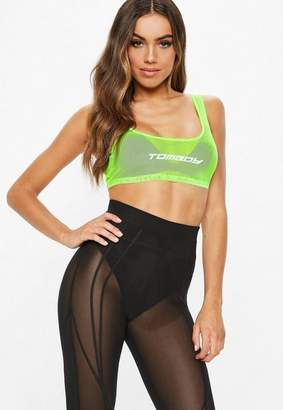 Missguided Fanny Lyckman x Neon Green Mesh Crop Top