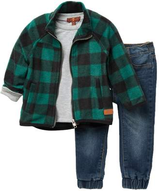 7 For All Mankind Plaid Jacket, Top, & Jeans Set (Baby Boys)