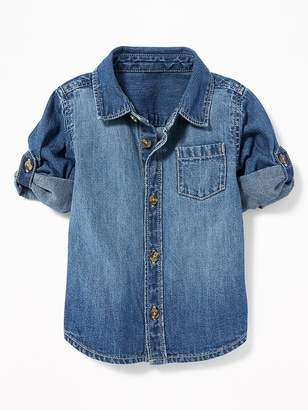 Old Navy Roll-Sleeve Denim Pocket Shirt for Baby