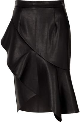 River Island Womens Black faux leather frill front pencil skirt