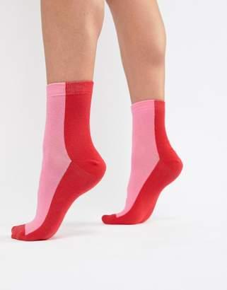 Asos Design DESIGN pink and red block sock