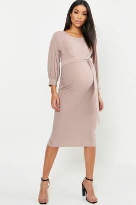 boohoo Maternity Balloon Sleeve Tie Waist Midi Dress