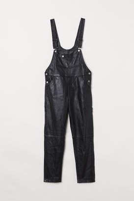H&M Leather Bib Overalls - Black