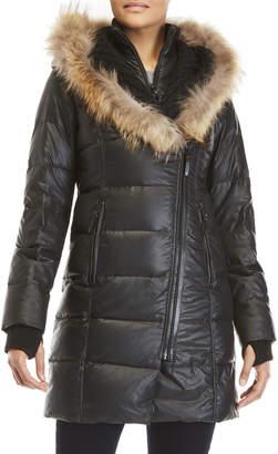Rudsak Asymmetric Zip Coat with Real Fur Trim