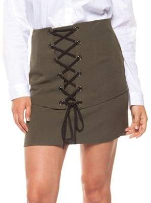Dex Lace-Up Front Mini Skirt