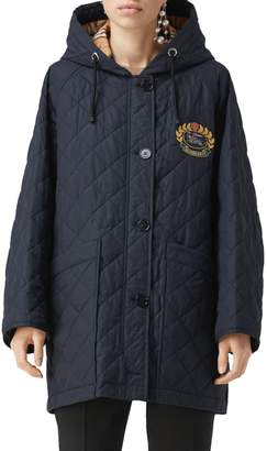 Burberry Roxwell Embroidered Archive Logo Quilted Coat