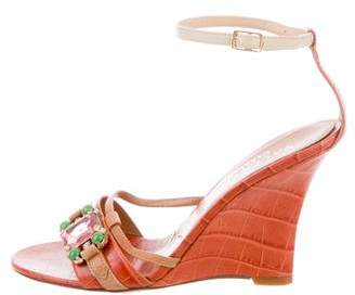 Valentino Embellished Leather Wedge Sandals
