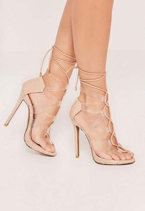 Lace Up Cross Strap Transparent Gladiator Heels
