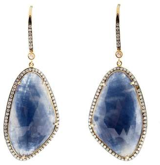 18K Yellow Gold Sapphire and Diamond Slice Earrings