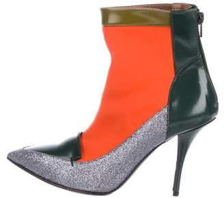 Tabitha Simmons Glitter-Accented Ankle Boots