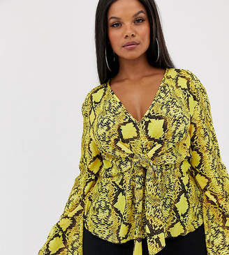 PrettyLittleThing Plus Plus exclusive blouse with tie waist in yellow snake