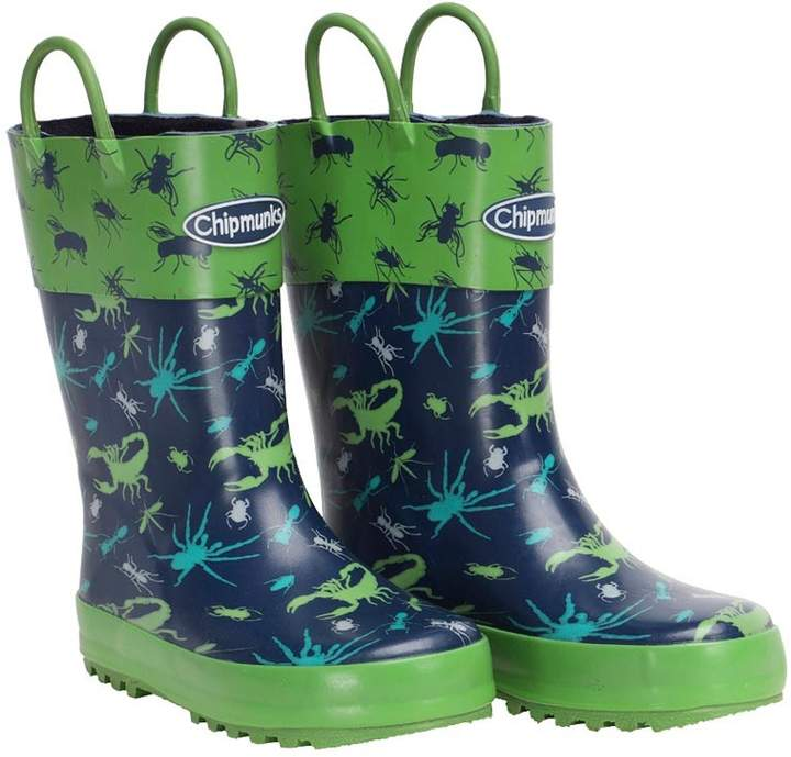 Chipmunks Boys Bugsy Insect Print Wellington Boots Blue/Green
