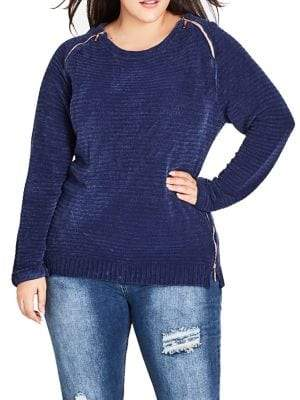 City Chic Plus Ribbed Side Zip Sweater