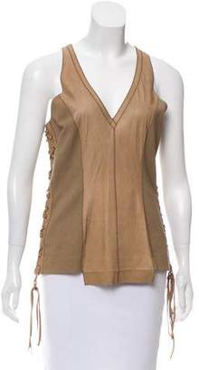 Illia Leather-Paneled Knit Top