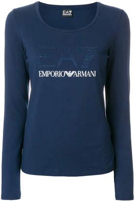 Ea7 Emporio Armani embellished logo T-shirt
