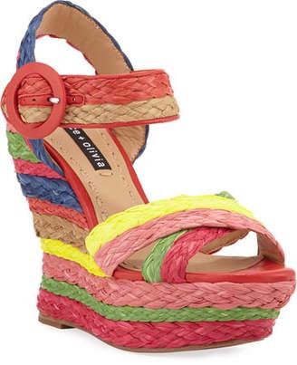 Alice + Olivia Josiey Rainbow Wedge Sandals
