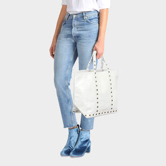 Vanessa Bruno Medium + Leather and Eyelets Tote Bag in Craie Cowhide Leather