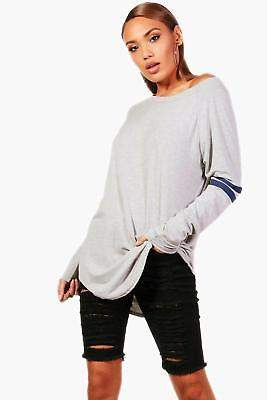 boohoo NEW Womens Katie Long Sleeve Base Ball Tunic in Grey size 8