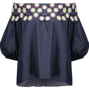 Peter Pilotto Off-the-shoulder Embroidered Cotton-chambray Top
