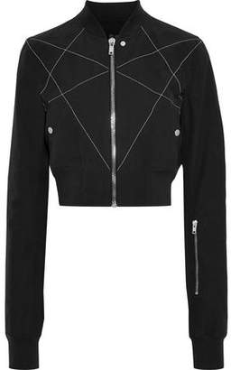 Rick Owens Cropped Embroidered Cotton-blend Shell Bomber Jacket