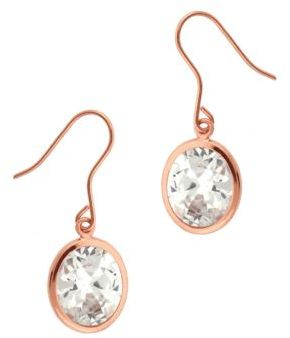 Lord & Taylor Rose Gold Over Sterling Silver and Cubic Zirconia Drop Pendant Earrings