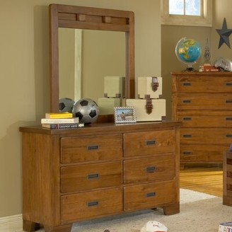 Three Posts Morpeth Kids 6 Drawer Double Dresser with Mirror
