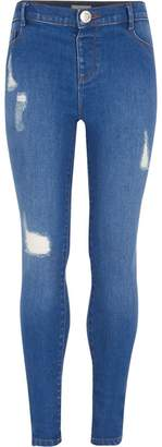 River Island Girls Blue Molly distressed jeggings
