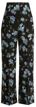 Emilia Wickstead Hullinie Floral Print Georgette Trousers - Womens - Black Blue