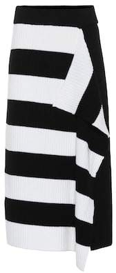 Tibi Striped merino wool skirt