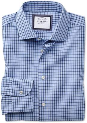 Charles Tyrwhitt Slim Fit Semi-Spread Collar Non-Iron Business Casual Sky Blue and Navy Check Cotton Dress Shirt Single Cuff Size 16/34
