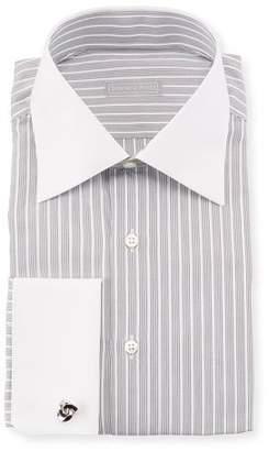 Stefano Ricci Contrast-Collar Striped Dress Shirt