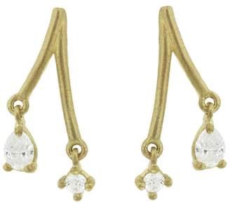 Tate Teardrop and Round Diamond Stick Stud Earrings