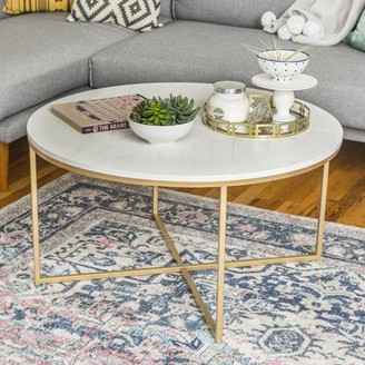 Mid-Century MODERN Manor Park 36 inch, Round with X-Base Coffee Table - White Marble/Gold